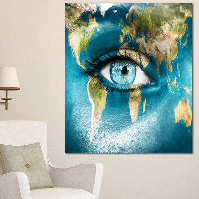 Designart Planet Earth And Blue Eye Abstract Canvas Art Print