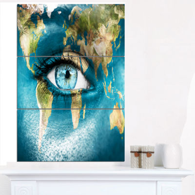 Designart Planet Earth And Blue Eye Abstract Canvas Art Print - 3 Panels