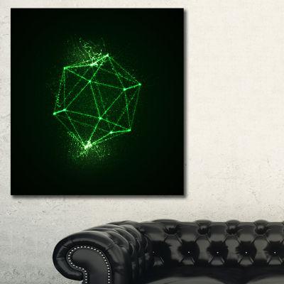 Designart Platonic Shape Green Abstract Art Print