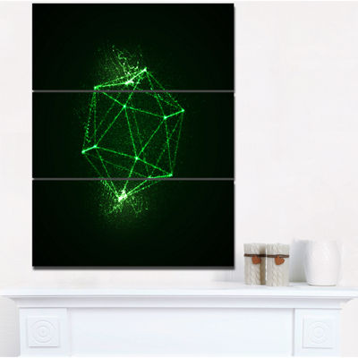Designart Platonic Shape Green Abstract Art Print-3 Panels