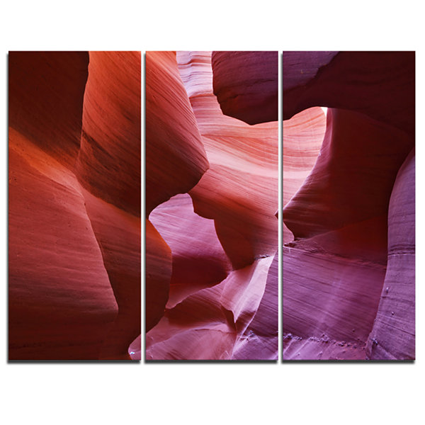 Designart Play Of Light In Antelope Canyon Landscape Photography Canvas Print - 3 Panels