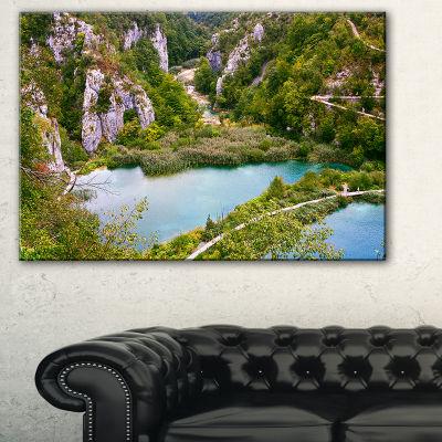 Designart Plitvice Lakes Long View Landscape PhotoCanvas Art Print - 3 Panels