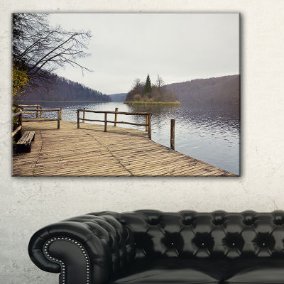 Designart Plitvice Lakes Wooden Bridge Landscape Photo Canvas Art Print - 3 Panels