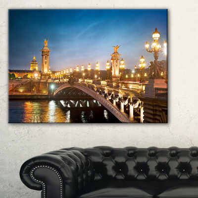 Designart Pont Alexandre Iii Bridge Cityscape Photo Canvas Art Print - 3 Panels
