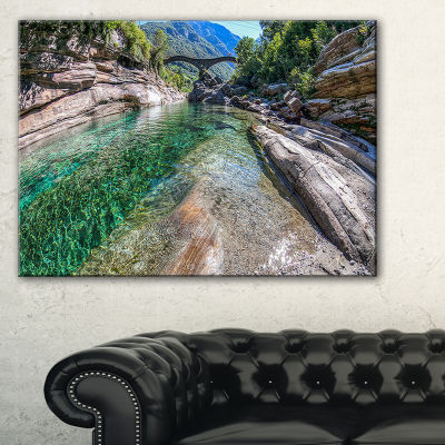 Designart Ponte Dei Salti Val Verzasca LandscapePhoto Canvas Art Print - 3 Panels