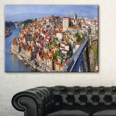 Designart Porto City Panoramic View Cityscape Photo Canvas Print
