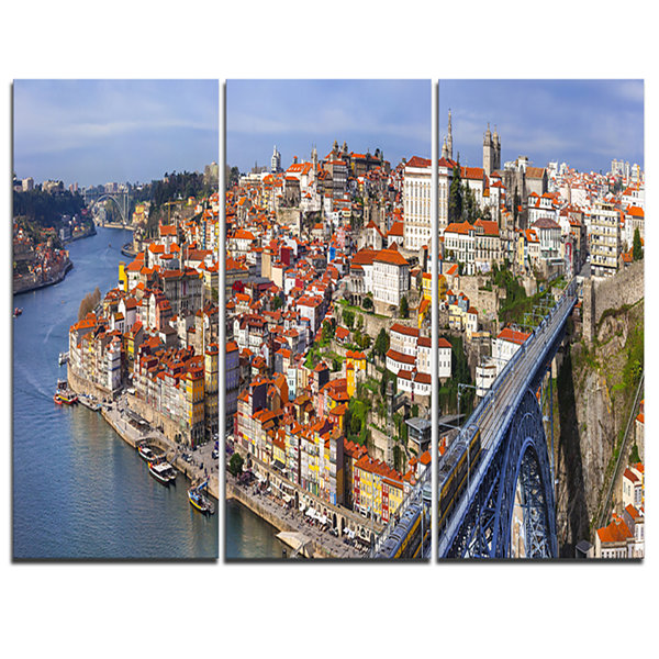 Designart Porto City Panoramic View Cityscape Photo Canvas Print - 3 Panels