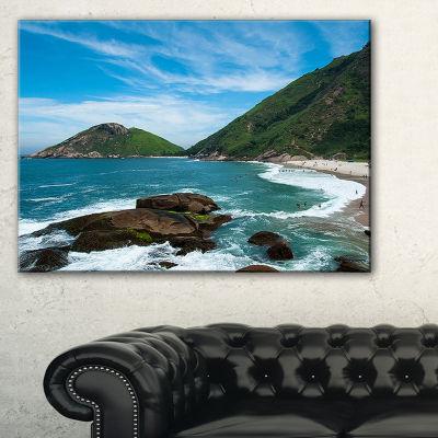 Designart Praia Do Meio Beach Seashore PhotographyCanvas Art Print - 3 Panels