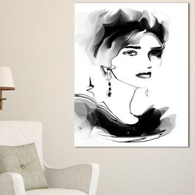 Designart Pretty Woman Black Abstract Portrait Canvas Print