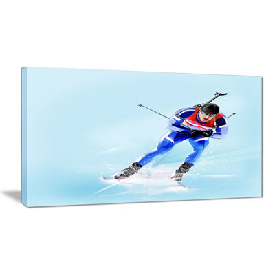 Designart Professional Male Skier Abstract Portrait Canvas Print