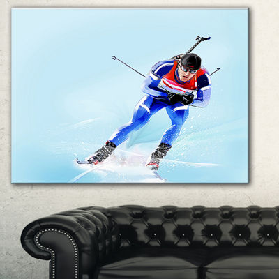 Designart Professional Male Skier Abstract Portrait Canvas Print - 3 Panels