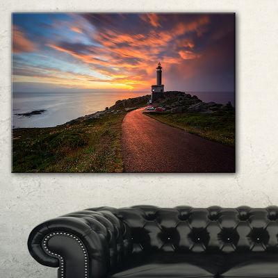 Designart Punta Nariga Lighthouse Spain SeashorePhoto Canvas Art Print - 3 Panels