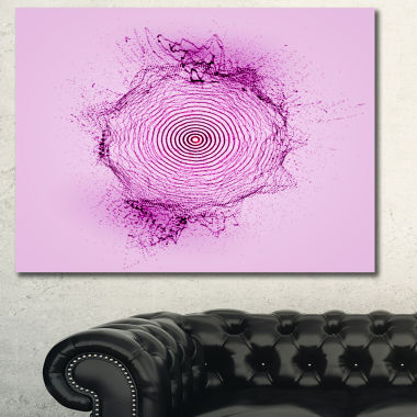 Designart Purple 3D Shape Splashes Abstract Art
