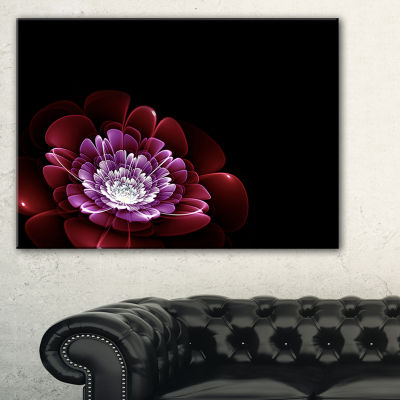 Designart Purple Abstract Fractal Flower Floral Art Canvas Print