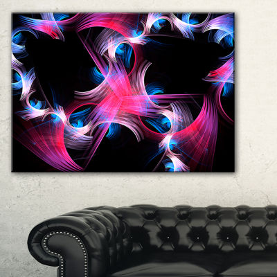 Designart Purple Blue Fractal Flowers Floral Canvas Art Print - 3 Panels