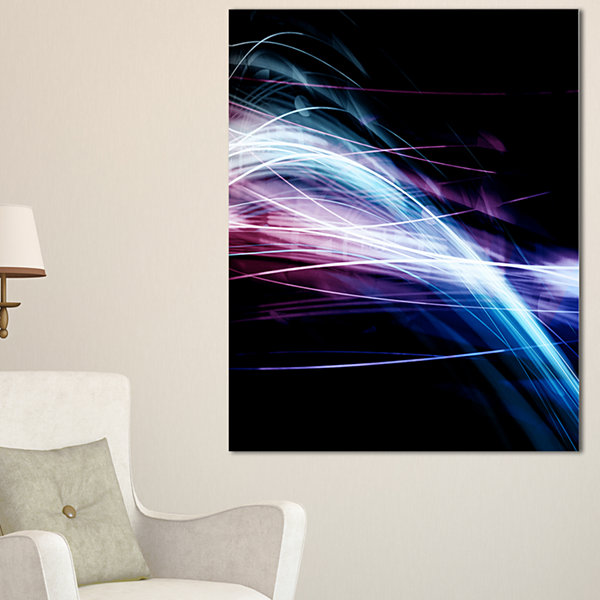 Designart Purple Blue Lines In Black Abstract Canvas Art Print