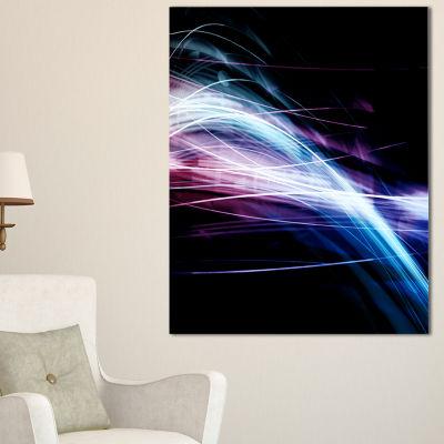 Designart Purple Blue Lines In Black Abstract Canvas Art Print - 3 Panels