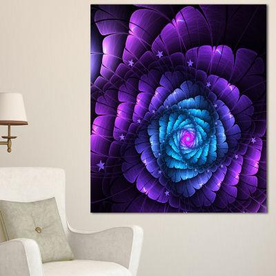 Designart Purple Fractal Flower In Dark Floral Canvas Art Print - 3 Panels