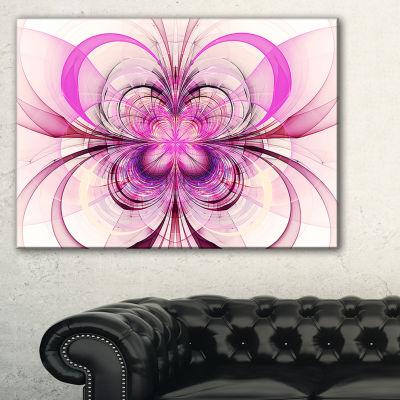 Designart Purple Fractal Flower Pattern Floral ArtCanvas Print