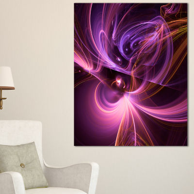 Designart Purple Fractal Light Art In Dark Abstract Canvas Art Print - 3 Panels