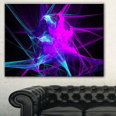 Designart Purple Glowing Ball Of Smoke Abstract Canvas Art Print - 3 Panels