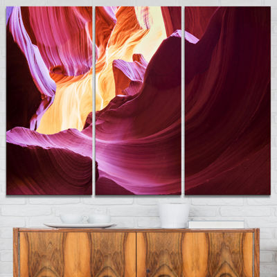 Designart Purple In Antelope Canyon Landscape Photography Canvas Art Print - 3 Panels
