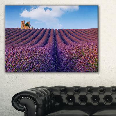 Designart Purple Lavender Field Landscape Photography Canvas Art Print - 3 Panels