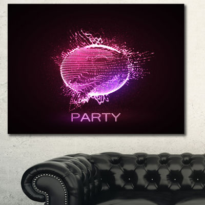 Designart Purple Party Neon Sign Abstract CanvasArt Print