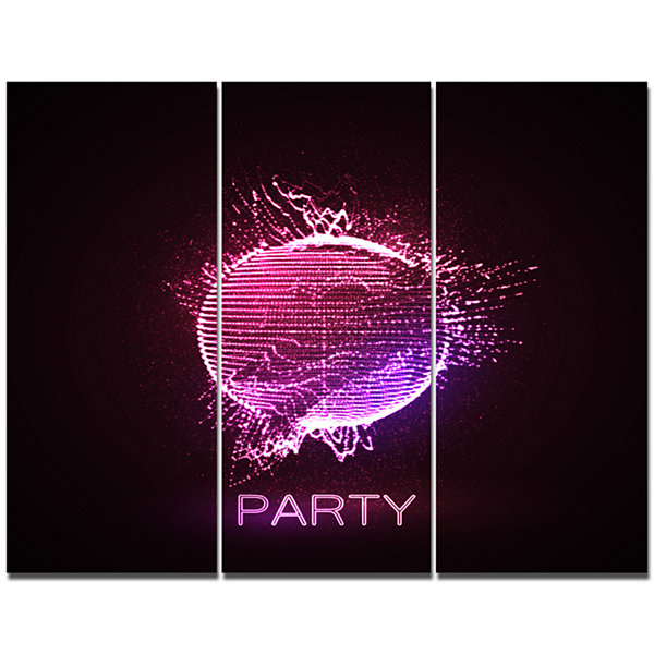 Designart Purple Party Neon Sign Abstract CanvasArt Print - 3 Panels