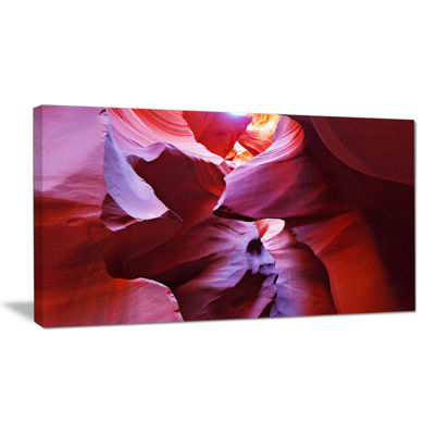 Designart Purple Rays In Antelope Canyon LandscapePhotography Canvas Print