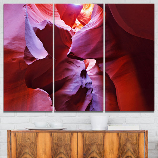 Designart Purple Rays In Antelope Canyon LandscapePhotography Canvas Print - 3 Panels