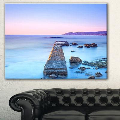 Design Art Purple Sea And Sky Seascape Canvas ArtPrint