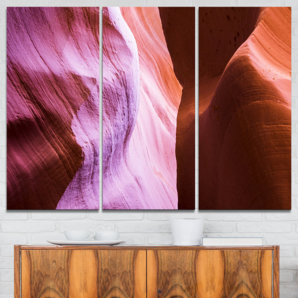 Designart Purple Shade In Antelope Canyon Landscape Photography Canvas Print - 3 Panels