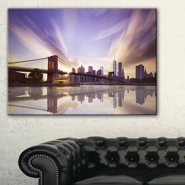Designart Purple Sky Over Brooklyn Bridge Cityscape Photo Canvas Print - 3 Panels