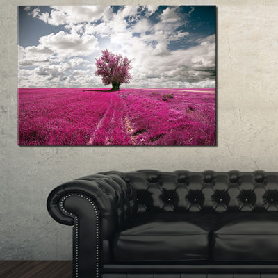 Designart Purple Tree Dreamscape Landscape Photography Canvas Print - 3 Panels