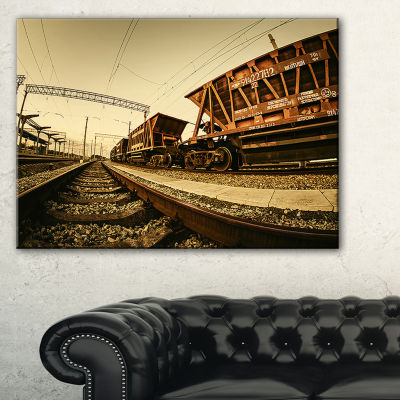 Designart Railway Tracks In Ukraine Landscape Photo Canvas Art Print - 3 Panels
