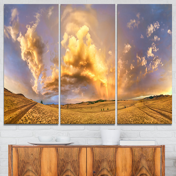Designart Rainbow At Sunset After Storm LandscapePhotography Canvas Print - 3 Panels