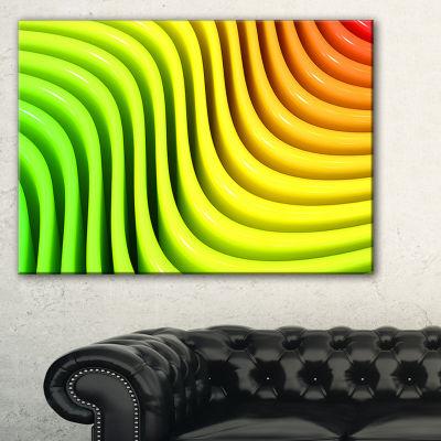 Designart Rainbow Colors Wave Abstract 3D DigitalArt Canvas Print - 3 Panels