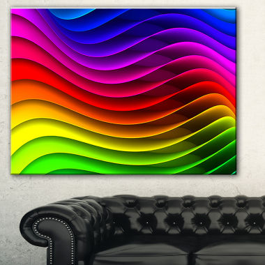 Designart Rainbow Downward Wave Pattern Modern Digital Canvas Print