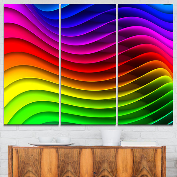 Designart Rainbow Downward Wave Pattern Modern Digital Canvas Print - 3 Panels