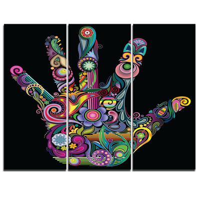 Designart Rainbow Hand With Multi Colors AbstractCanvas Art Print - 3 Panels