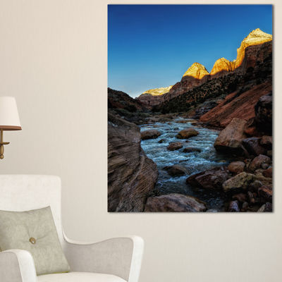 Designart Rapid Virgin River Landscape PhotographyCanvas Art Print - 3 Panels