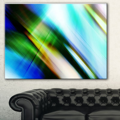 Designart Rays Of Speed Blue Green Abstract CanvasArt Print - 3 Panels