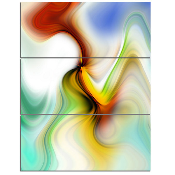 Designart Rays Of Speed Curved Abstract Canvas ArtPrint - 3 Panels