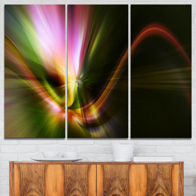 Designart Rays Of Speed Green Abstract Canvas ArtPrint - 3 Panels