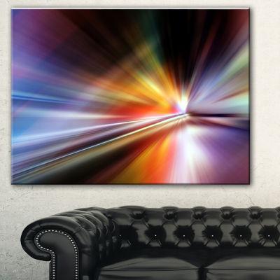 Designart Rays Of Speed Purple Abstract Canvas ArtPrint