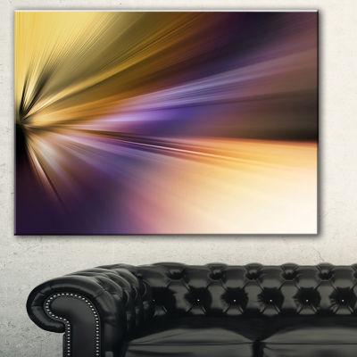 Designart Rays Of Speed Purple Brown Abstract Art-3 Panels