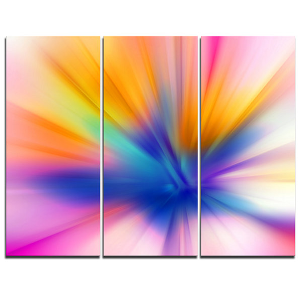 Designart Rays Of Speed Yellow Abstract Canvas ArtPrint - 3 Panels