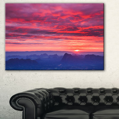 Designart Red And Blue Winter Mountains LandscapePhotography Canvas Print - 3 Panels