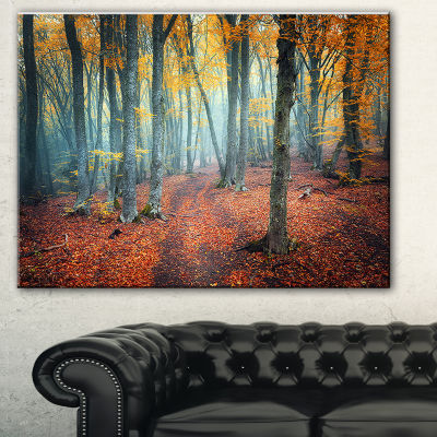 Designart Red And Yellow Autumn Forest LandscapePhotography Canvas Print - 3 Panels